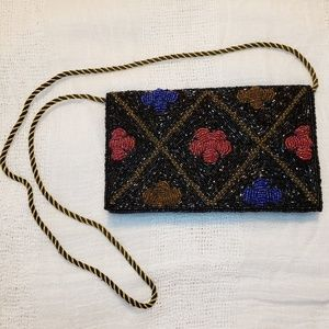Vintage Beaded Crossbody Purse, Handmade